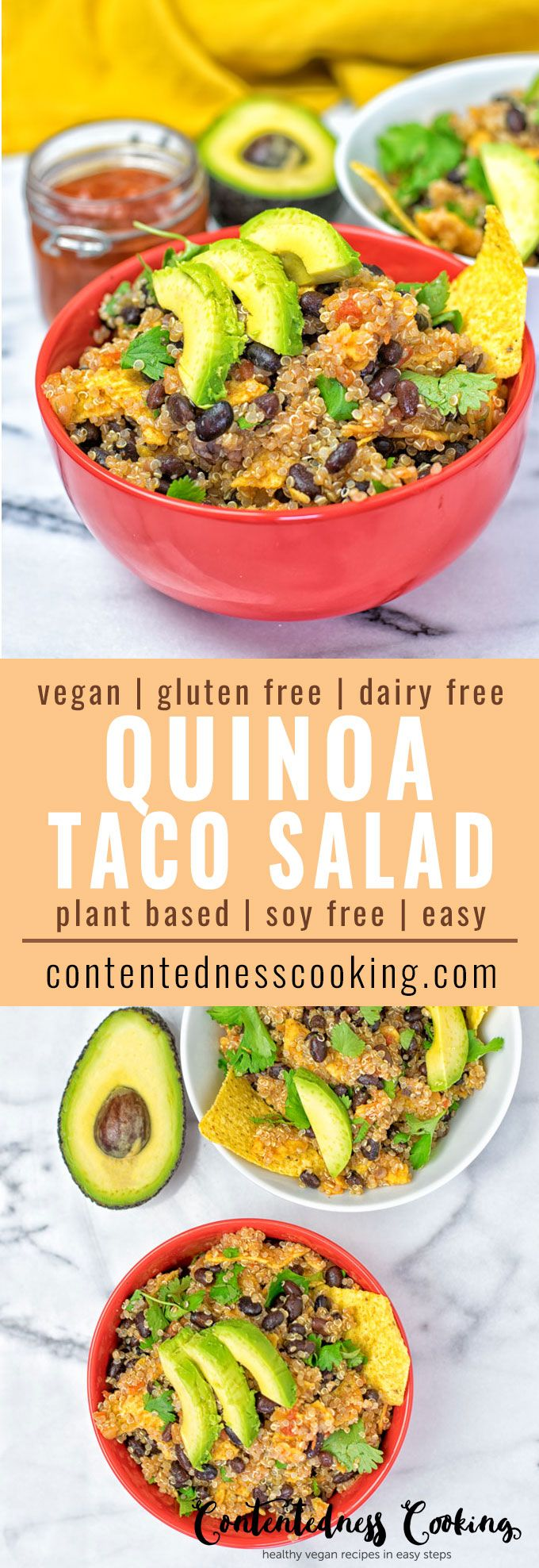 Enjoy this vegan Quinoa Taco Salad made with just 5 ingredients in 2 easy steps. A plant-based, gluten free, Mexican delight with