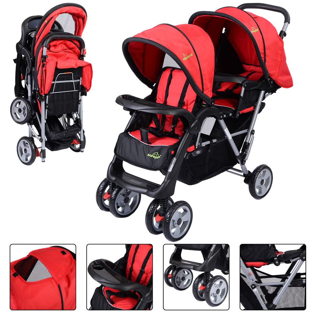 Details about Foldable Twin Baby Double Stroller Kids