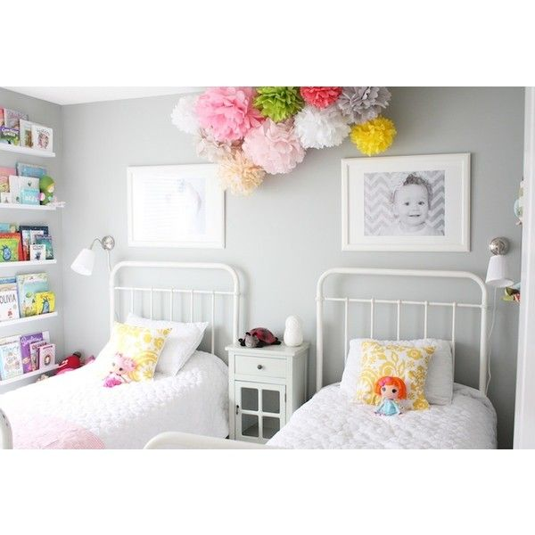 girl's rooms - General Paint - Dishwater - Restoration Hardware Baby & Child Millbrook Iron Bed Ikea Ribba Picture Ledge gray walls pom poms found on Polyvore
