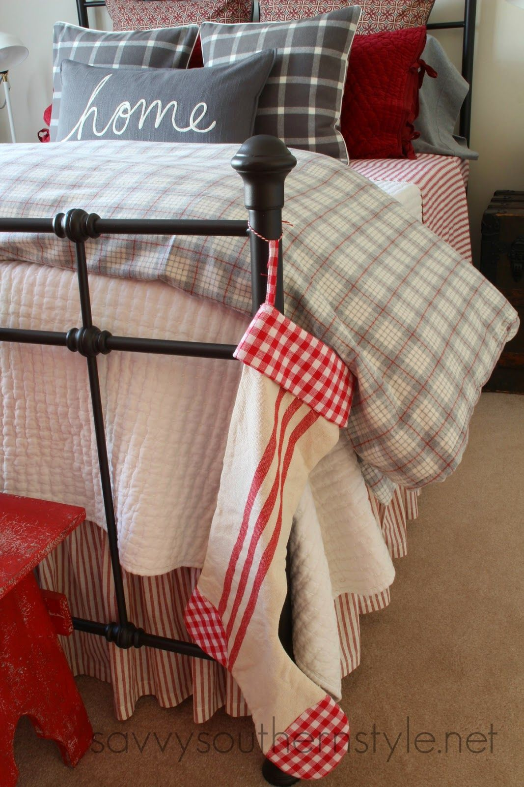 Farmhouse Guest Room Christmas, flannel bedding, Pottery Barn, LL ...