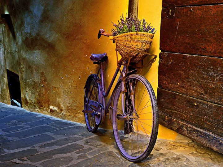 A bicycle in Tuscany, Italy, by photographer Jeff Berkes.