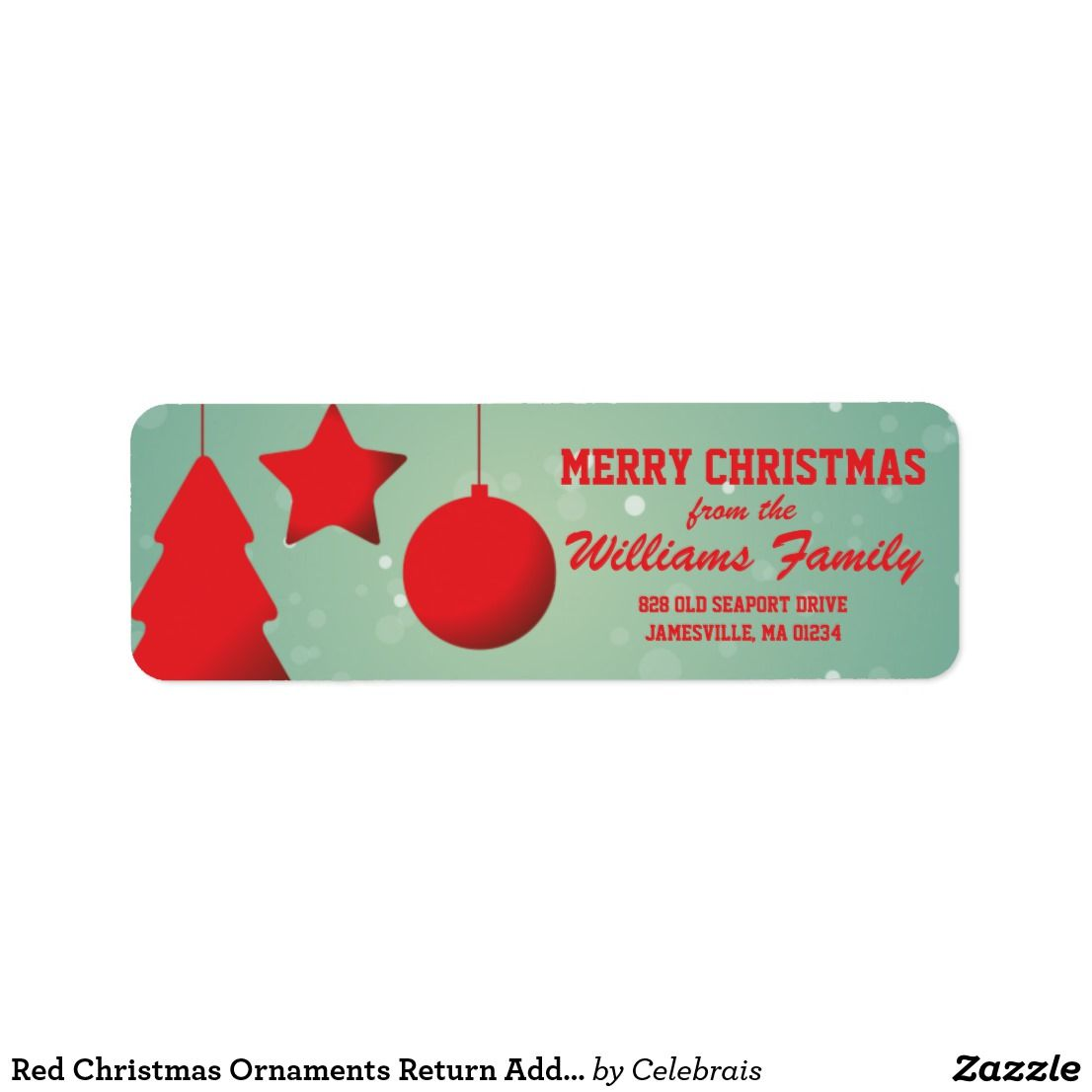 red christmas ornaments return address labels nice looking