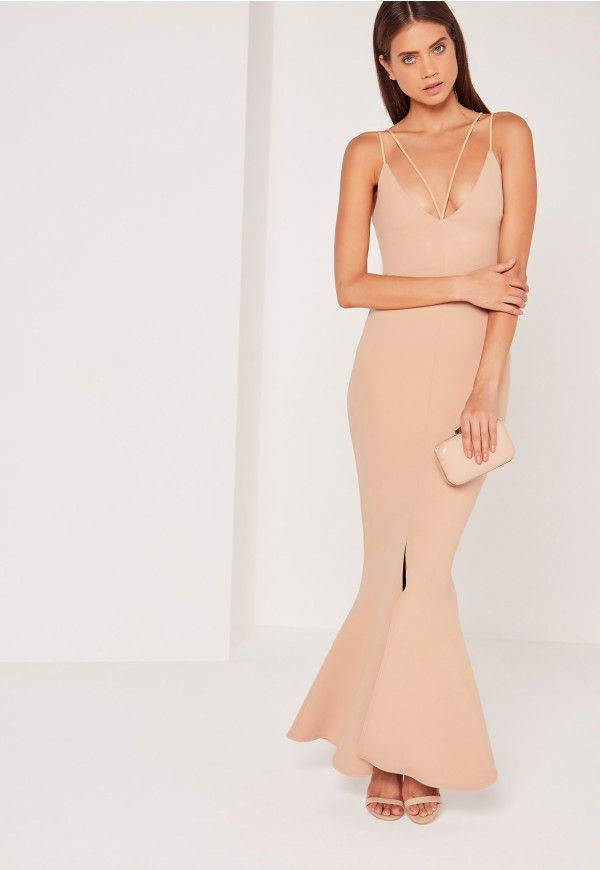 Split Front Strappy Fishtail Maxi Dress Nude - Missguided | Prom ...