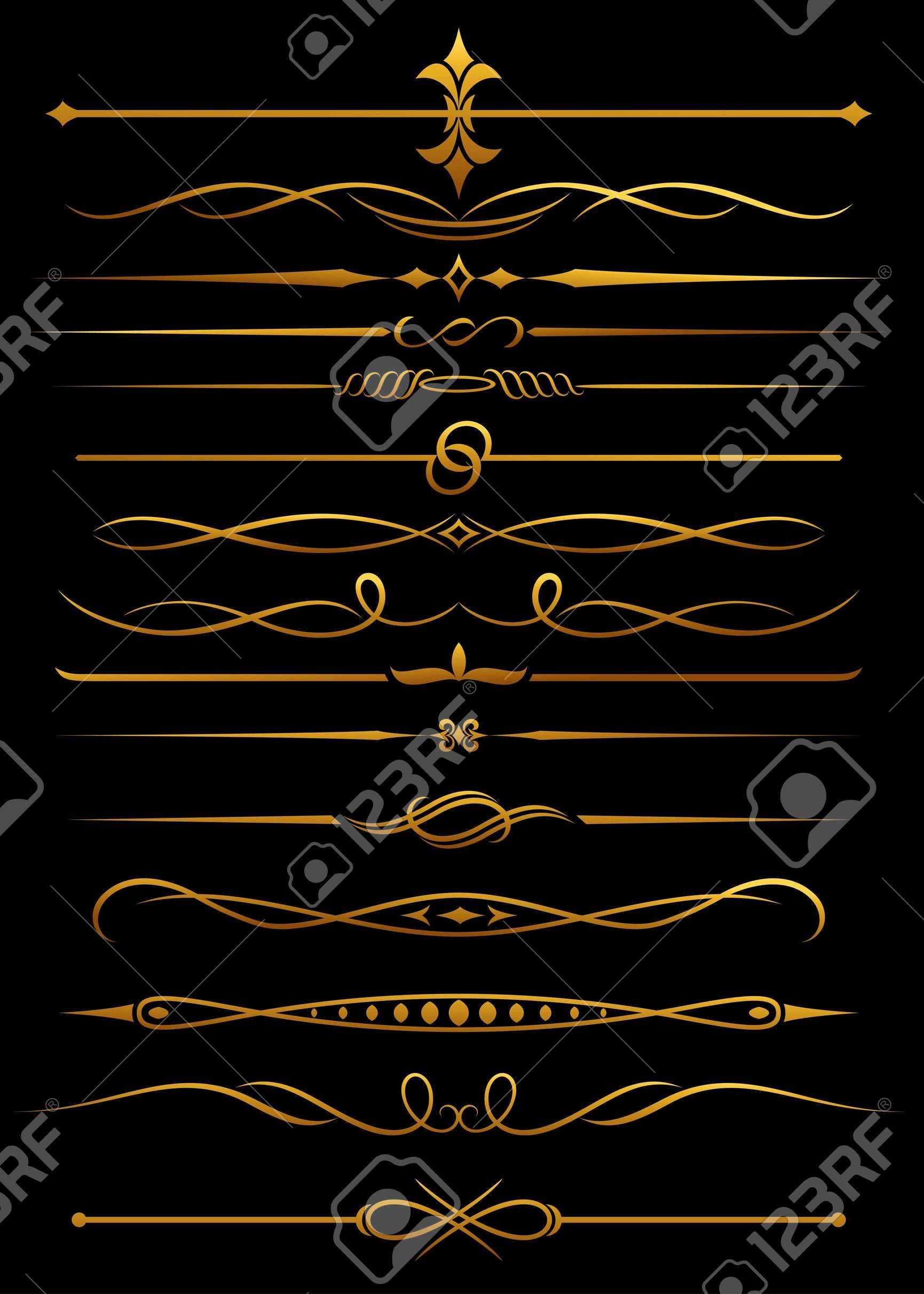 Golden borders and dividers for ornate and decorations game ui