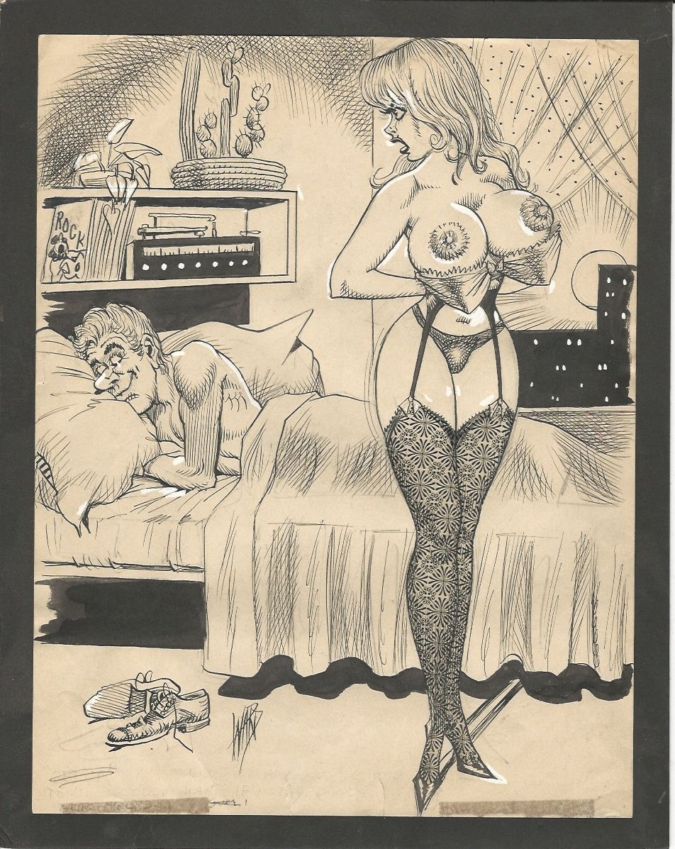 Vintage erotic art drawing