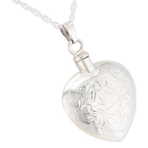 Etched heart pendant and necklace for ashes stardust memorials honor a loved one with a silver heart in etched pattern cremation pendant for ashes find remembrance jewelry for ashes today at stardust memorials aloadofball Gallery