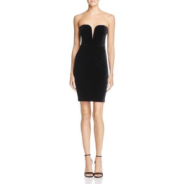 Bardot Velvet Bustier Dress (410 RON) ❤ liked on Polyvore featuring dresses, black, bustier dress, sweetheart neckline dresses, sweet heart dress, plunging-neckline dress and velvet dress