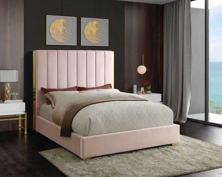 Becca Pink Queen Size Bed In 2020 Upholstered Platform Bed Contemporary Bedroom Decor Furniture