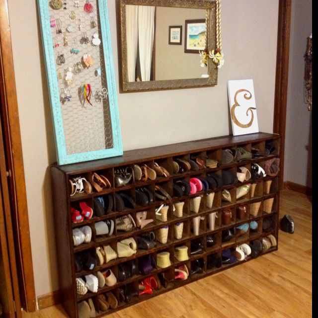 My old post office box cubbies upcycled into shoe storage!! & My old post office box cubbies upcycled into shoe storage!! | stuff ...