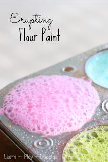 Homemade paint recipe that erupts!  Erupting art for kids