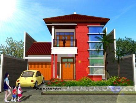 contoh rumah minimalis warna orange | outdoor decor