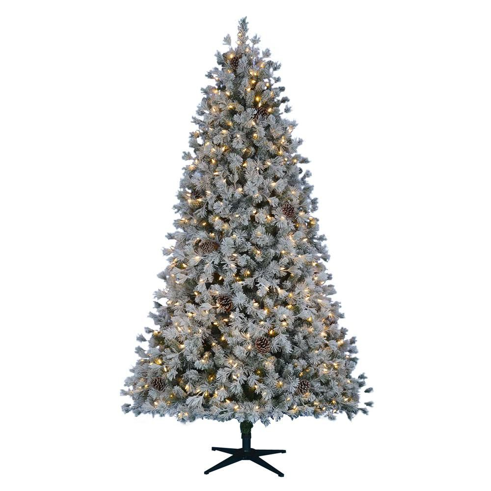 Home Accents Holiday 7 5 Ft Pre Lit Led Flocked Lexington Pine Artificial Christmas Tree With Pre Lit Christmas Tree Artificial Christmas Tree Christmas Tree