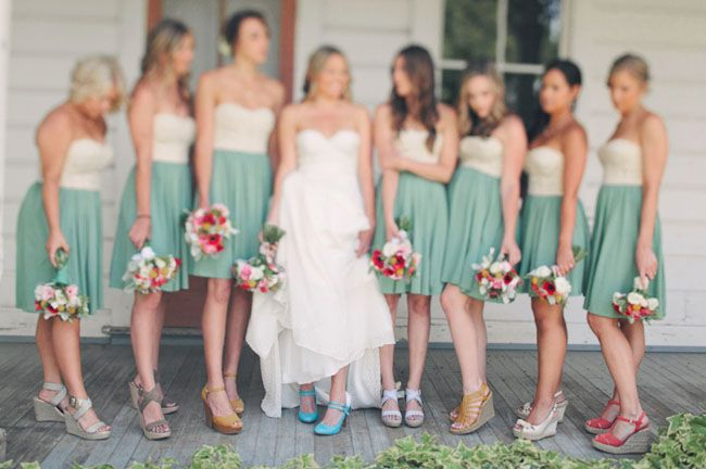 28d67379f58 Bridesmaids with mismatched shoes - so cute!