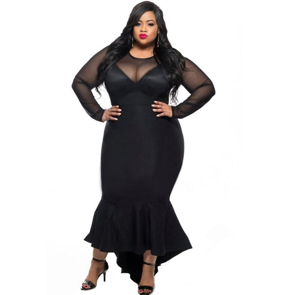 Mermaid evening long party dress black see through mesh long sleeve