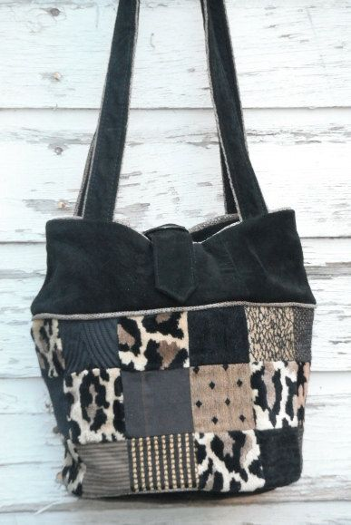Handmade Black Suede Purse Made From Recycled Suede by anewdesigns, $150.00