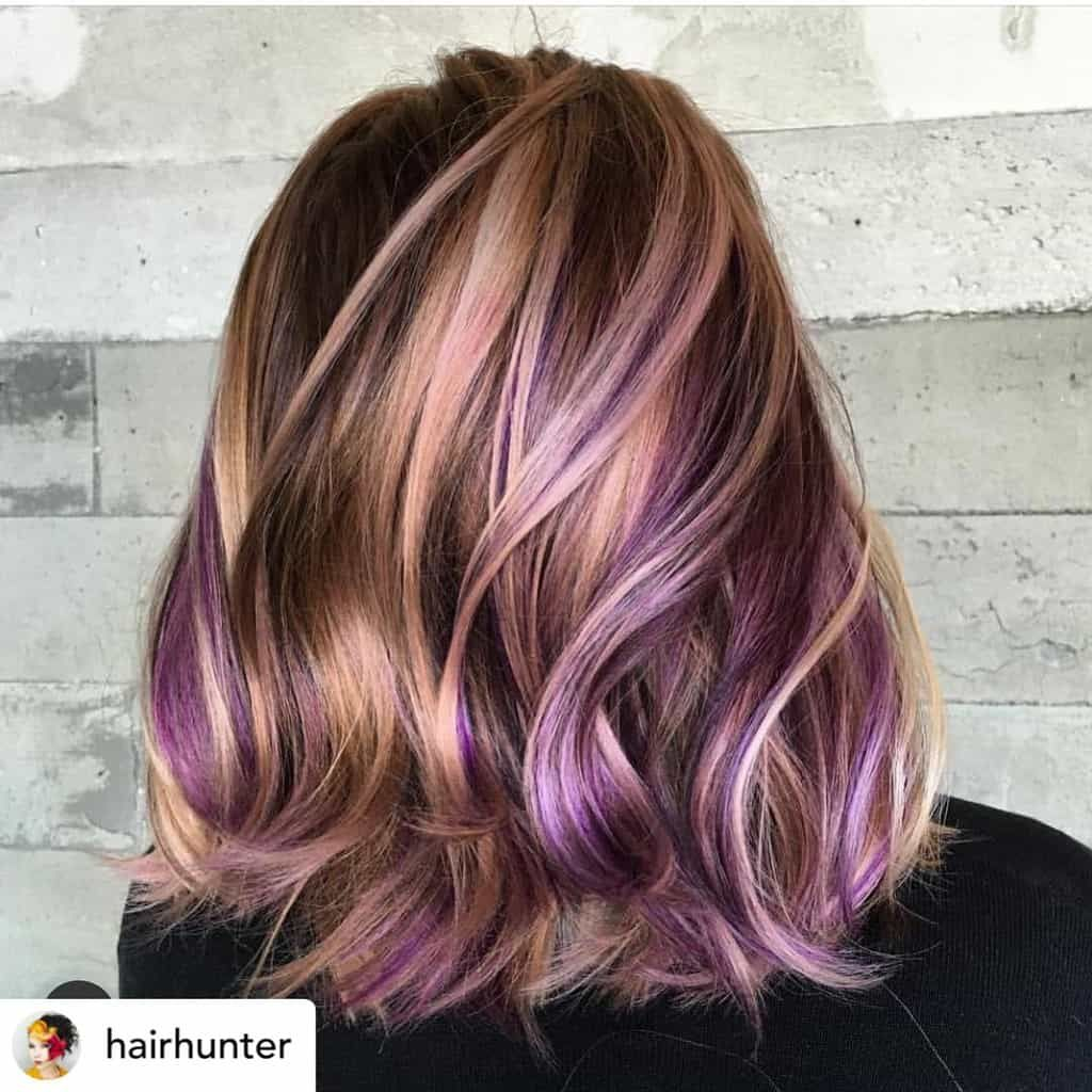 10 Ultra Cool Shades Of Winter Hair Color 2020 Ultimate Guide Purple Hair Color Highlights Purple Hair Highlights Purple Highlights Brown Hair