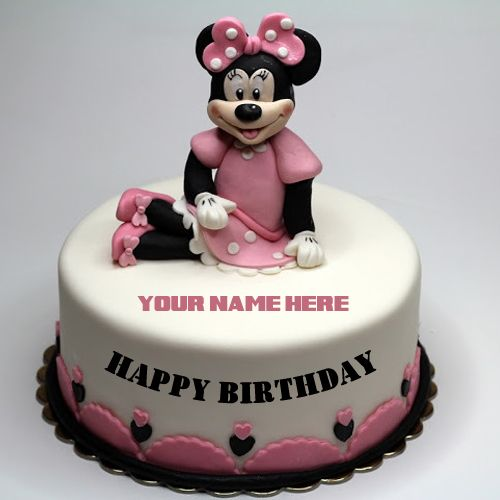 Cute Minnie Mouse Birthday Cake For Girls With Your Name Delicious