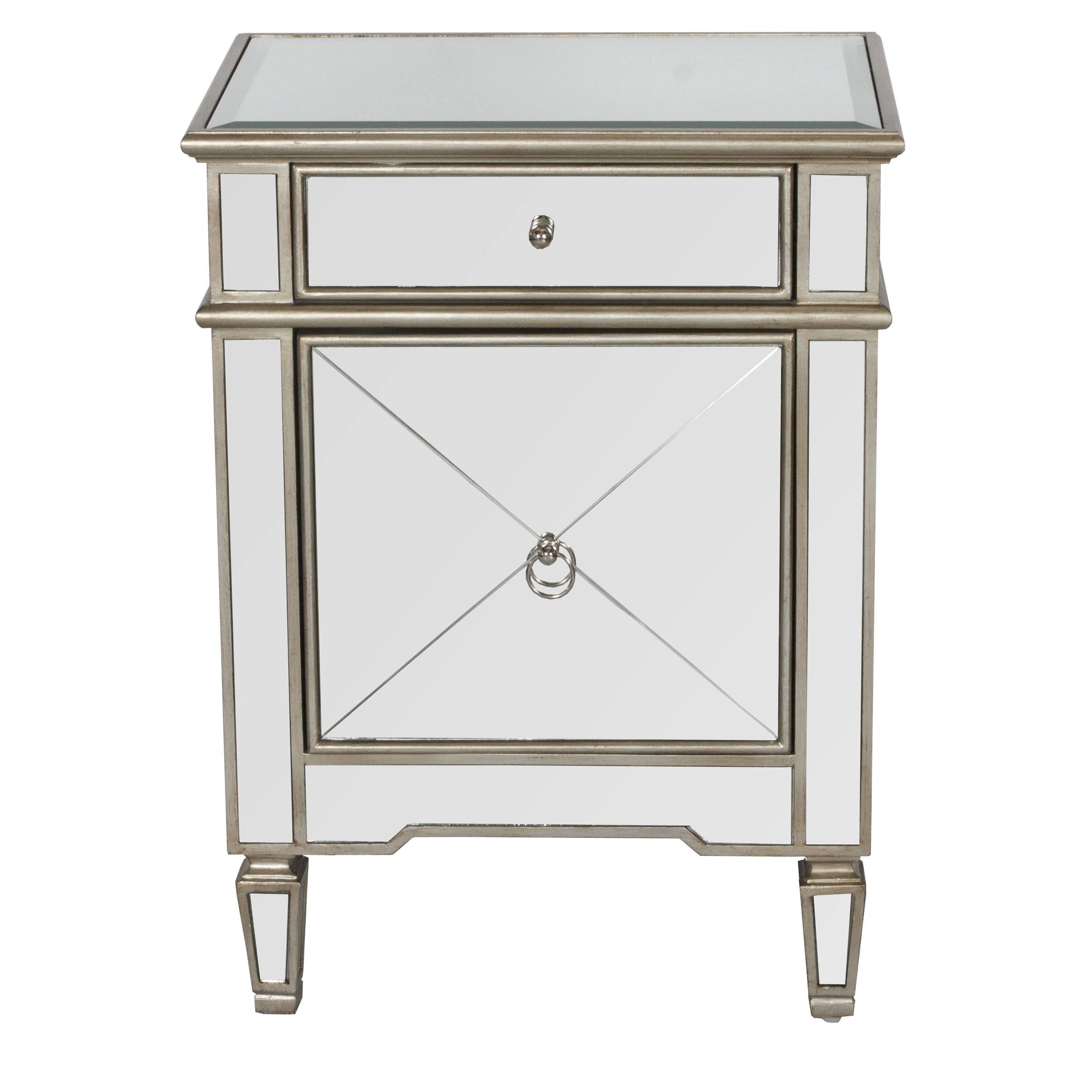 Claudette Mirrored Nightstand With Painted Silver Edge