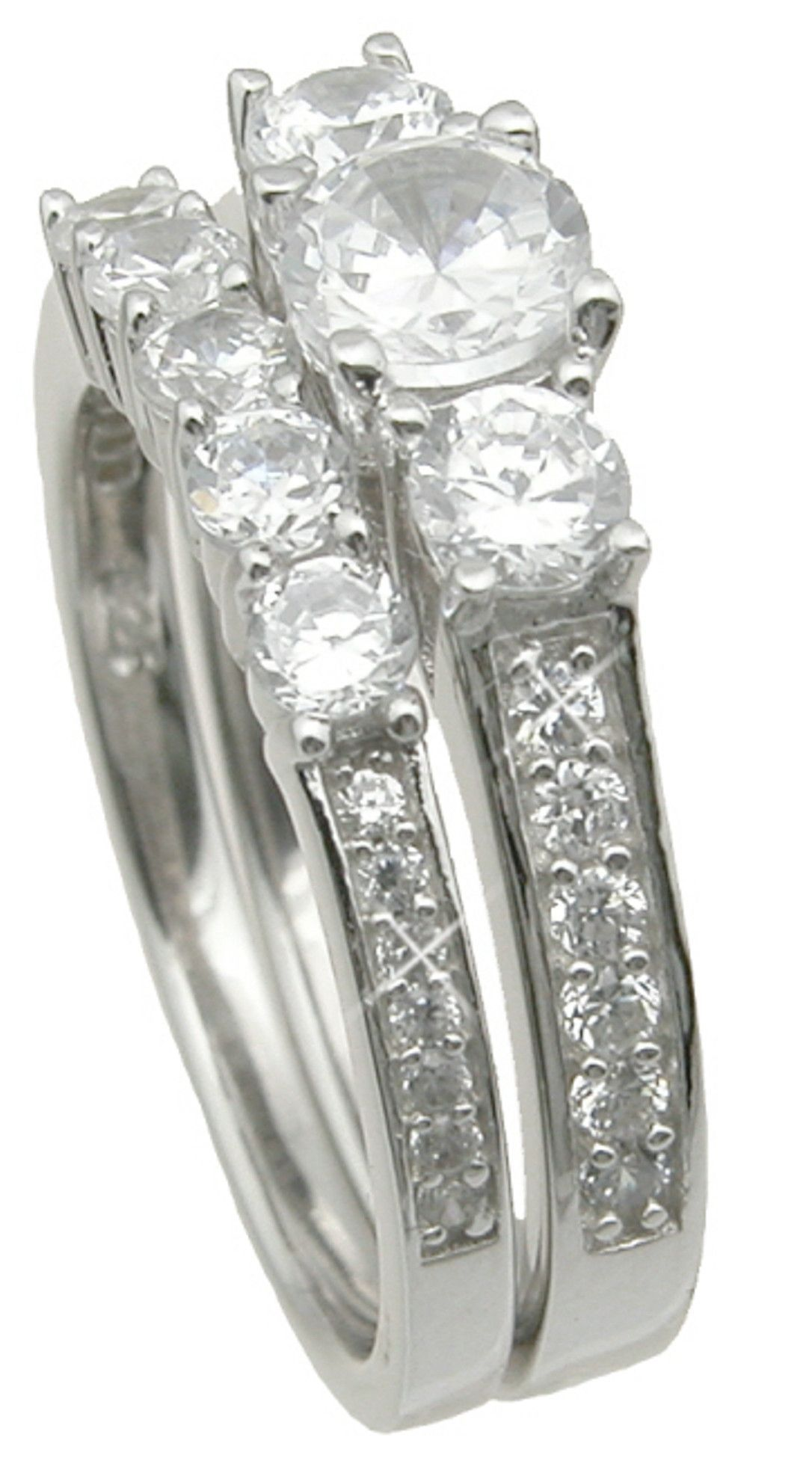 Believable CZ Wedding Ring Set Looks Real Not Cheap