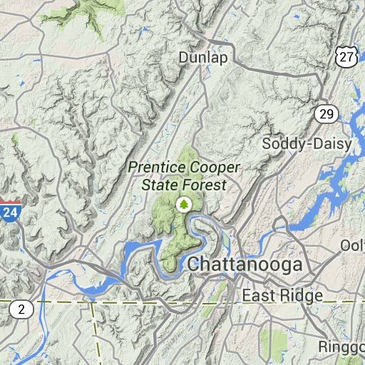 List/map of all hiking trails within one hour of Chattanooga, TN ...