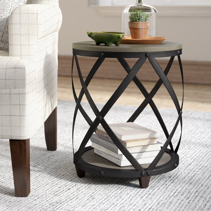 Rubino End Table With Storage Farmhouse End Tables End Tables Small Round Side Table