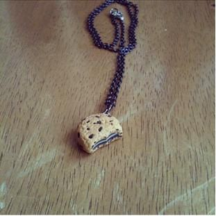 chocolate chip oreo cookie necklace polymer by FlowerChildCharms maybe key chain?? let us know custom orders accepted! Hand Made!