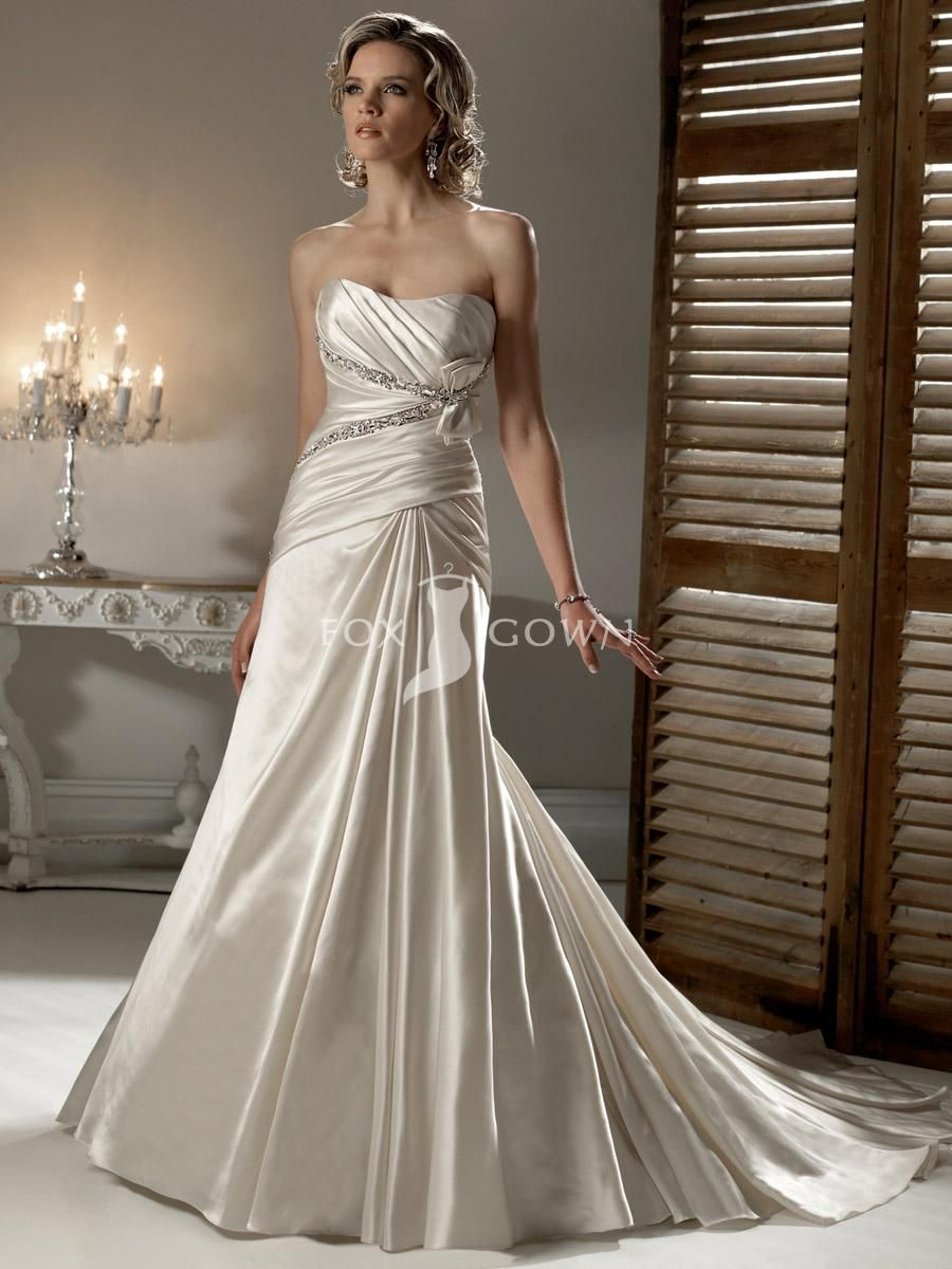 Stunning Ivory Satin Gown Contemporary - Wedding and flowers ...