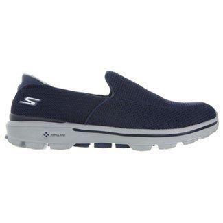 Skechers Men's GOwalk 3 Wide Memory Foam Slip On Sneakers (Navy/Gray)