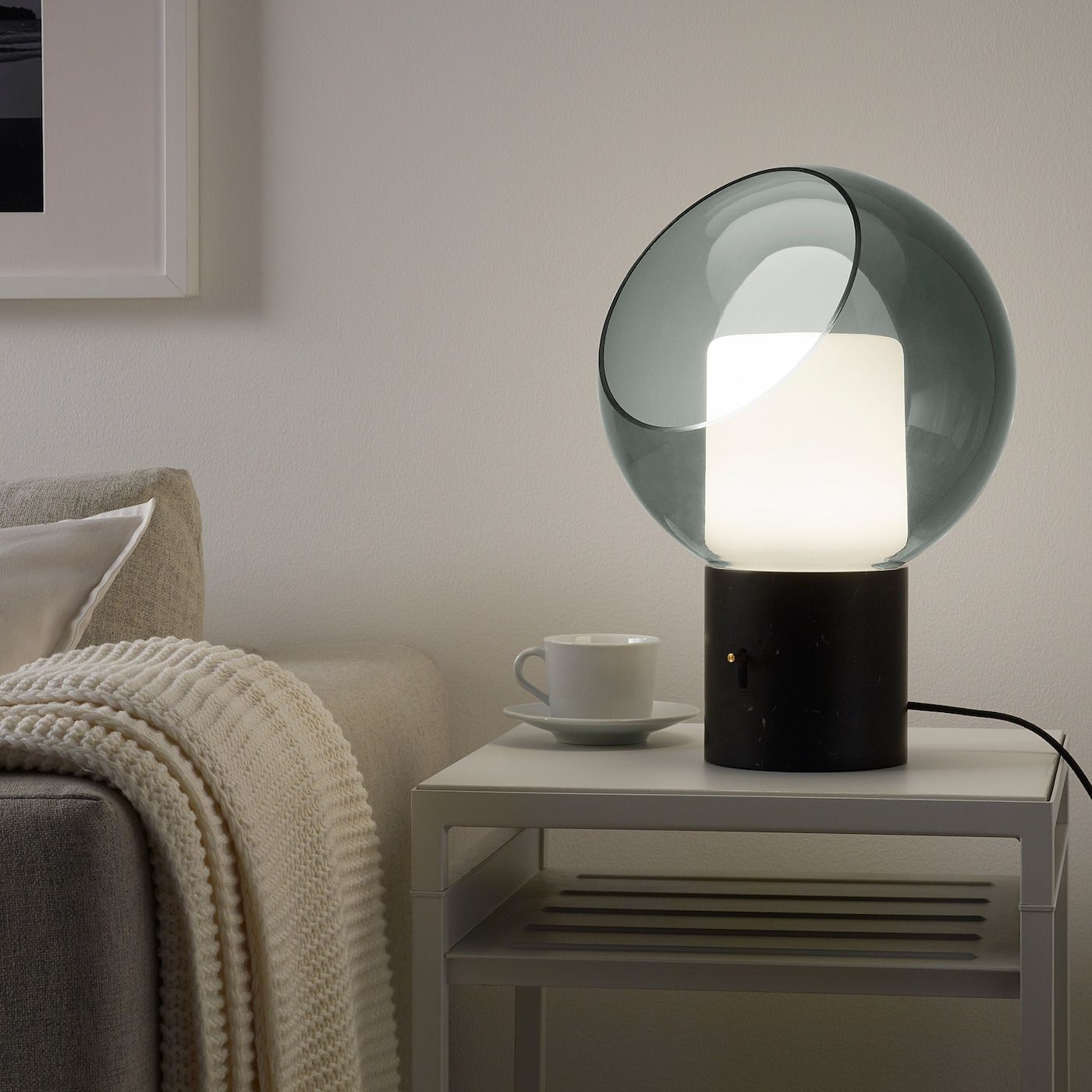 EVEDAL Table lamp, gray marble, globe gray globe IKEA in