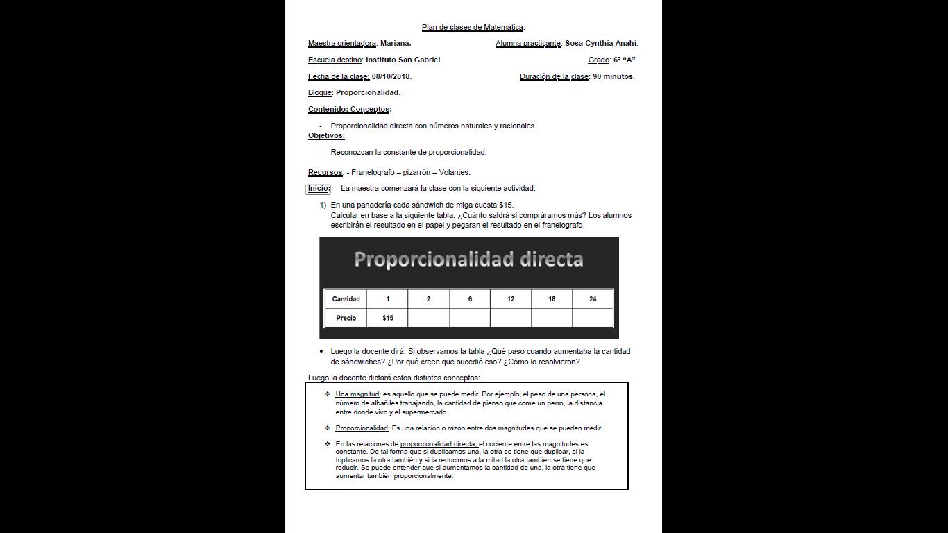 Plan Proporcionalidad Directa Para 6to Hoja1 Proporcionalidad Directa Directa