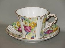 ROYAL ALBERT - Yellow & Floral Chintz Strips Panels - Art Deco CUP & SAUCER
