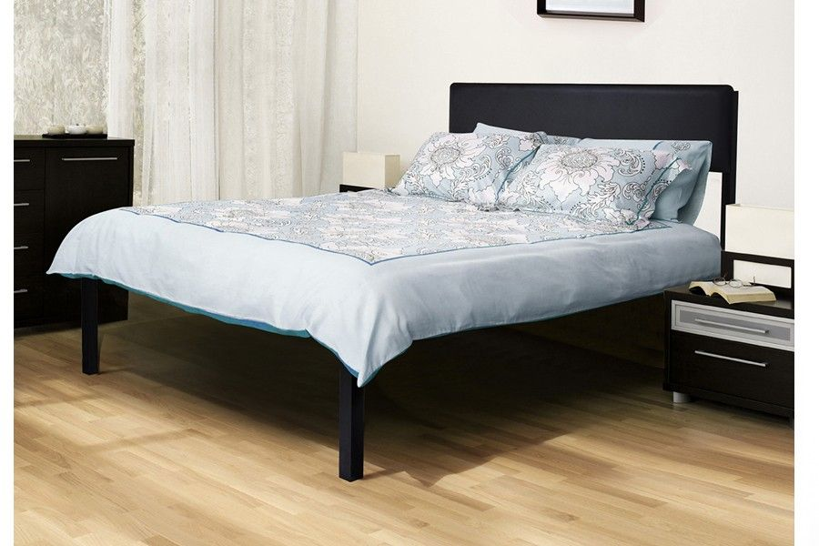 Heavy Duty Bed Frame With Basic Black Headboard Platform Bed