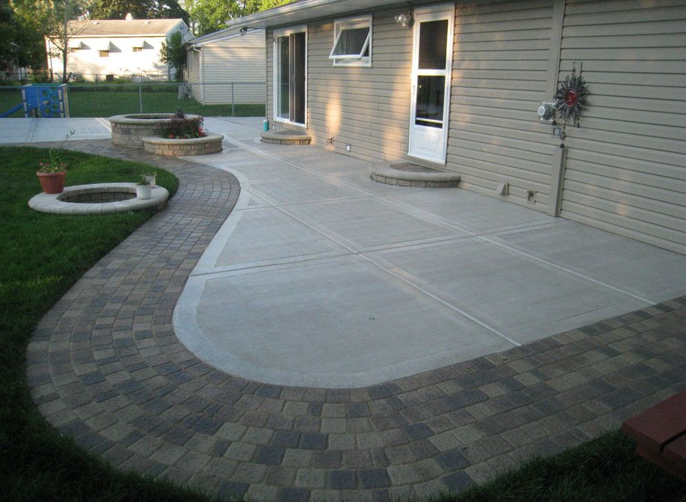 Backyard concrete patio ideas backyard landscaping ideas for How to make designs in concrete