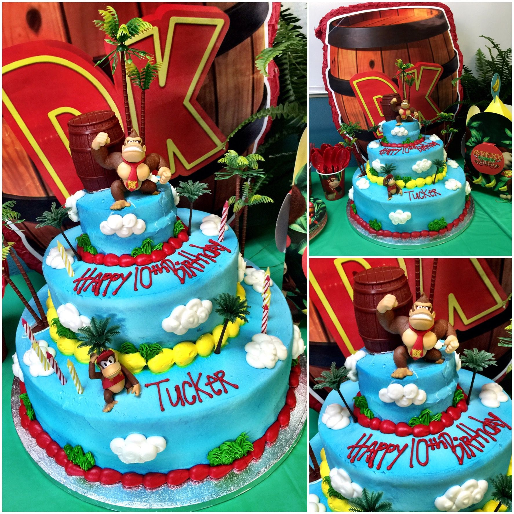 Marvelous Donkey Kong Birthday Cake With Images Donkey Kong Party Funny Birthday Cards Online Amentibdeldamsfinfo