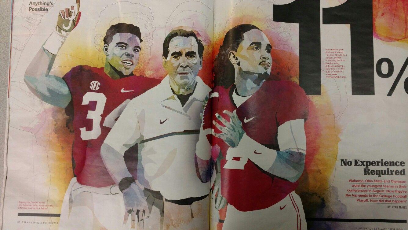 Damien Harris Nick Saban And Jalen Hurts With Images Alabama Crimson Tide Football Crimson Tide Football Bama Football