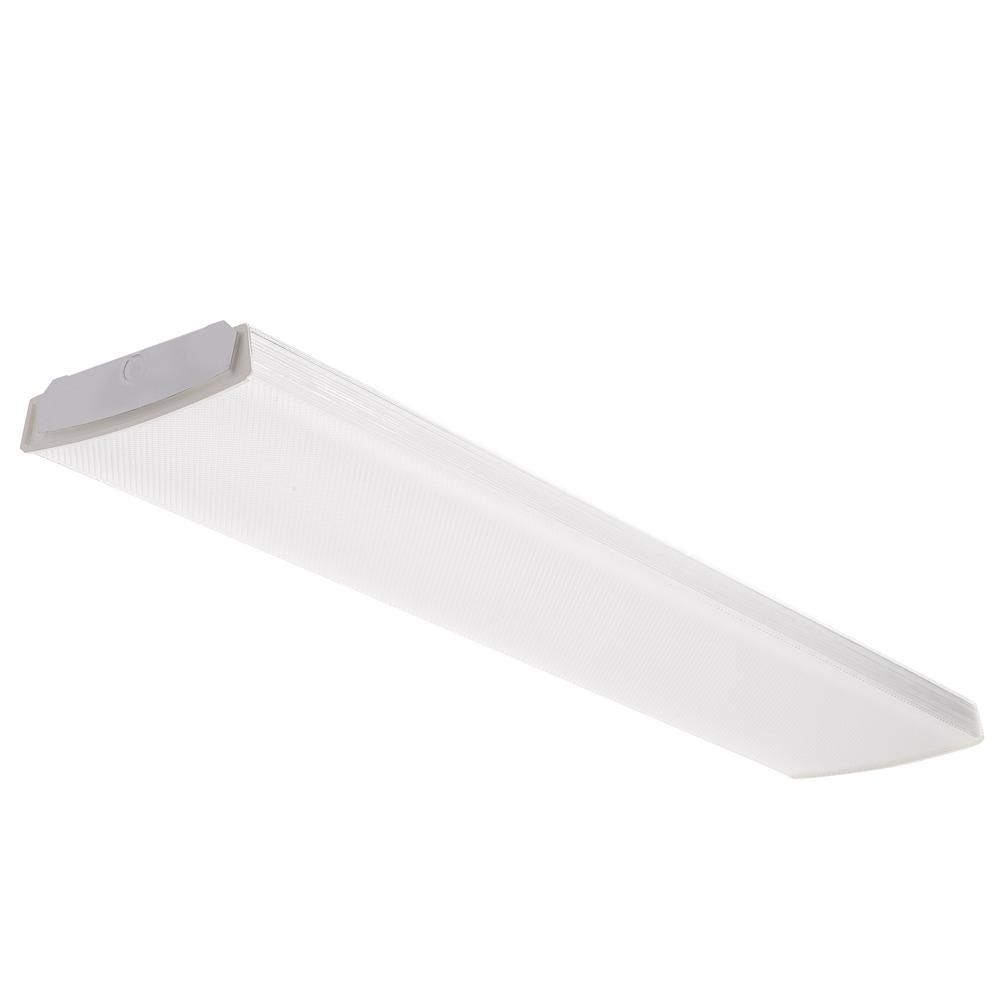 109 Home Depot 4000k 4000 Lumens Lithonia Lighting 4 Ft 41 Watt White Integrated Led Low Profile Wraparound Flushmount