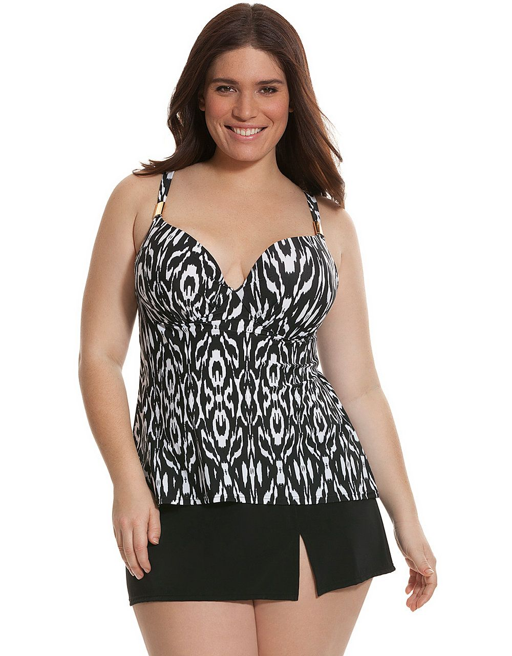 ae44e54bb4 Ikat swim tank with built-in plunge bra by Cacique