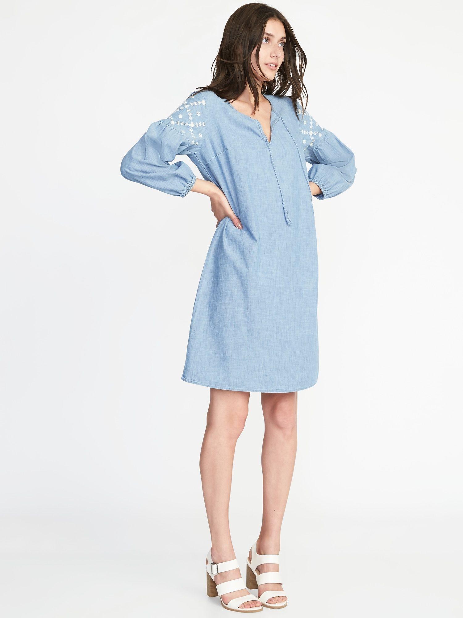 51801b5ec4bf Boho Tassel-Tie Chambray Shift Dress for Women |old-navy | Modest ...