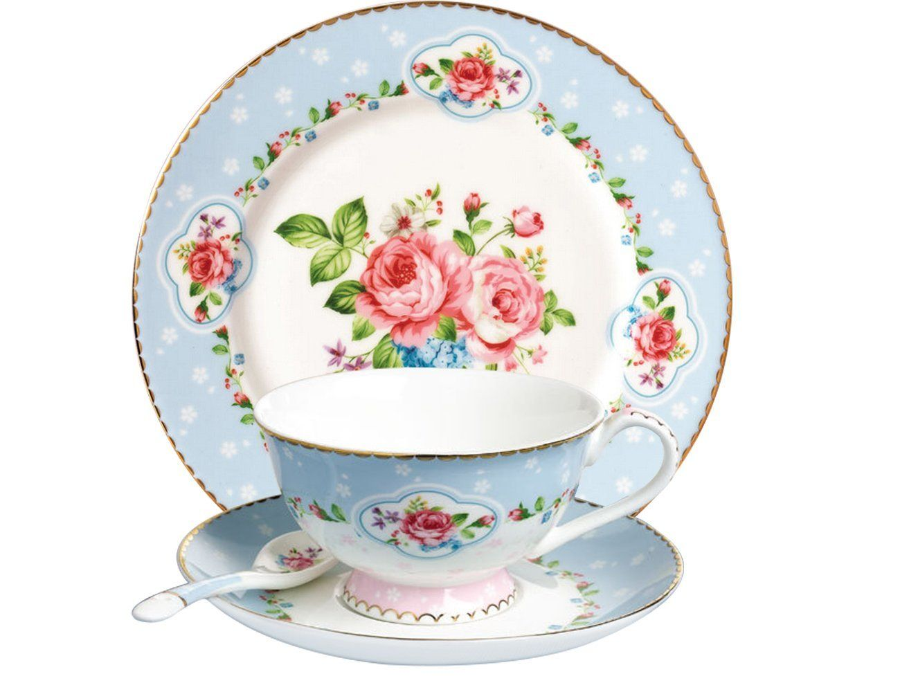 JSAron Romantic Rose Series Porcelain Teacup Saucer spoon and Plate Set Blue  sc 1 st  Pinterest & Amazon.com | JSAron Blue Rose Porcelain 4-Piece Teacup Saucer ...