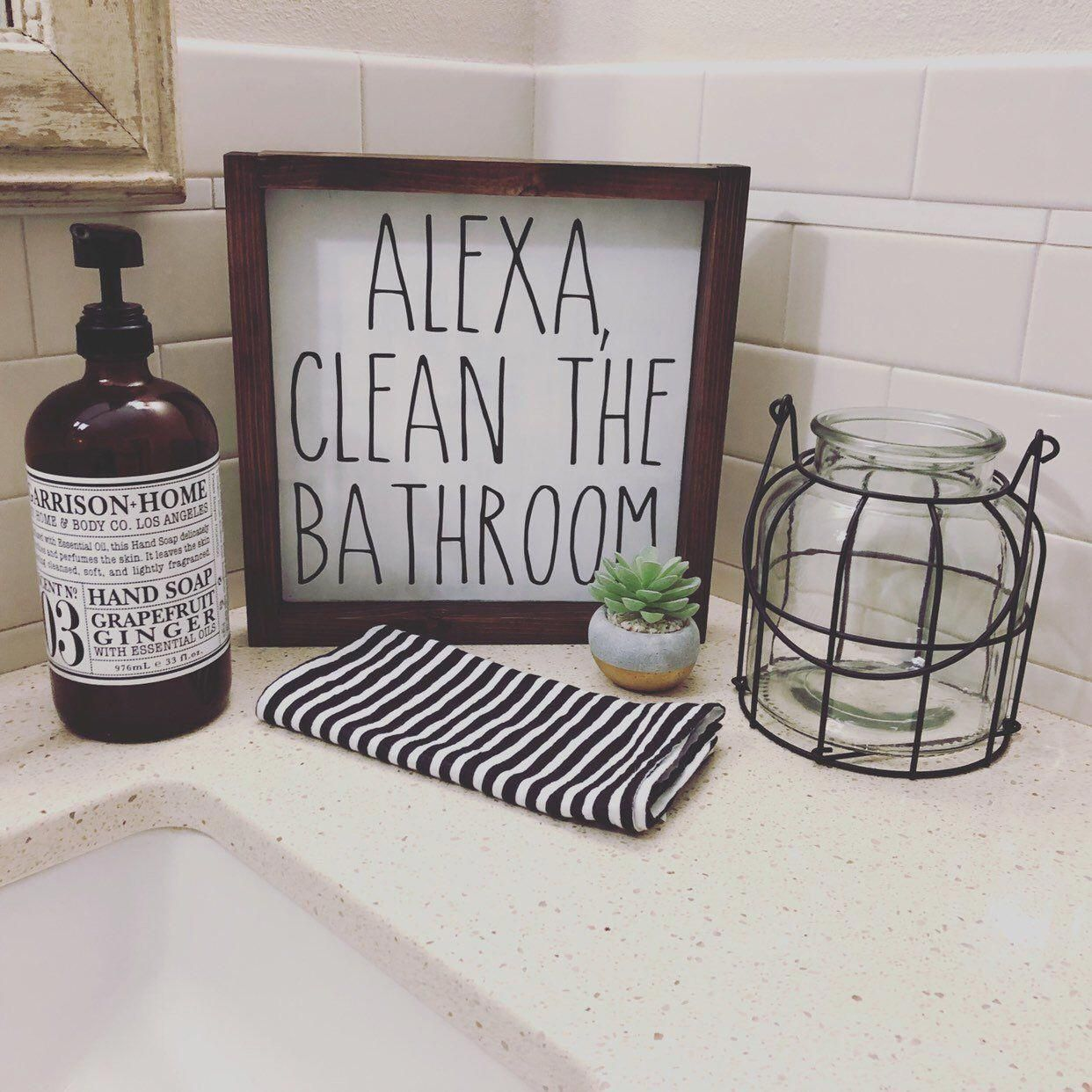 Alexa Clean the Bathroom Farmhouse Style Wood Sign Framed | Etsy