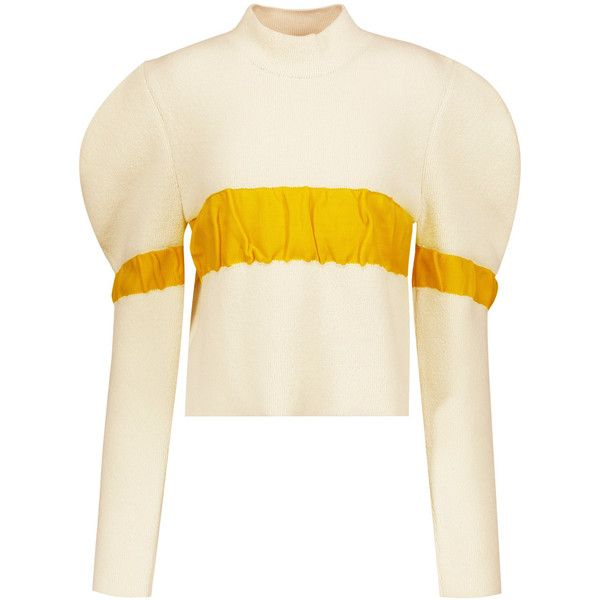 J.W.Anderson - Ruffled Bouclé Turtleneck Sweater ($456) ❤ liked on Polyvore  featuring tops