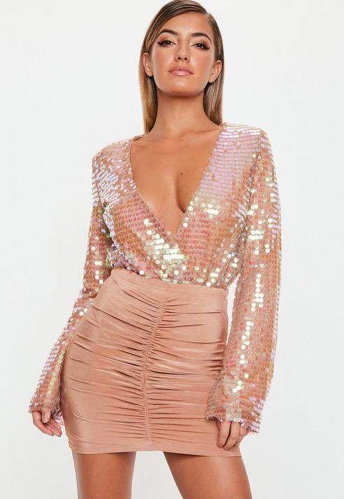 0377e766130 Blush Sequin Wrapover Bodysuit  60.00 http   shopstyle.it l SMLk