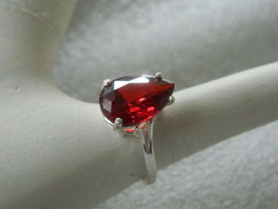 Garnet ring pear shape in sterling silver by JewelrybyDecember67, $56.00