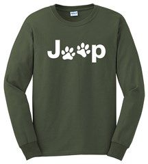 Jeep White Dog Paw Long Sleeve T Shirt Long Sleeve Tshirt Men Jeep Shirts Jeep Dogs