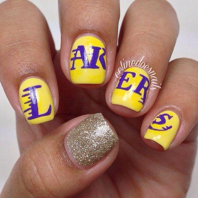 La Lakers Nails Kuku Desain Kuku Kuku Lucu