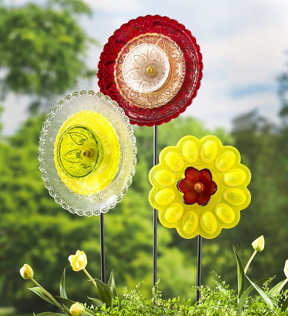 Vintage-Style Glass Plate Flower Stake | Decorative Garden Accents ...