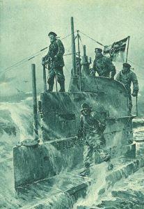 Willy Stöwer – Torre de control de un submarino alemán (1917)