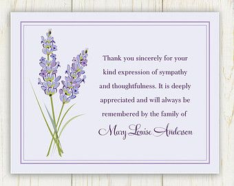 Lily Funeral Thank You Card Printable Digital By Eloycedesigns