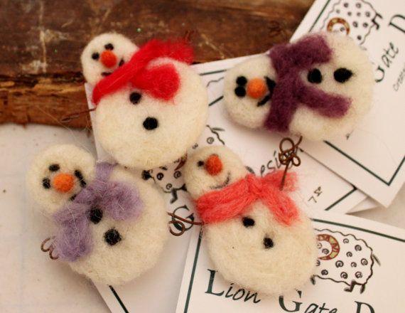Snowman, Needle Felted Snowman Pin 4 choices