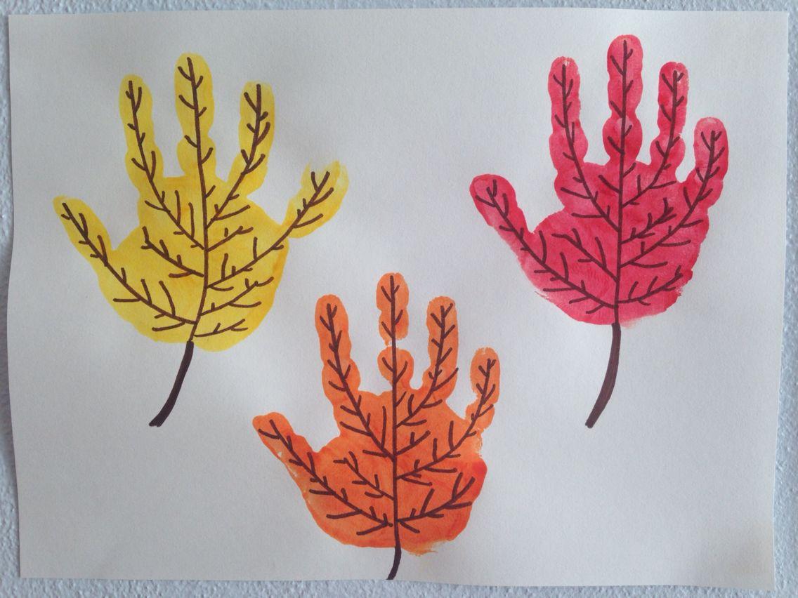 Handprint leaves craft homeschool kindergarten craft for Fall crafts for preschoolers pinterest